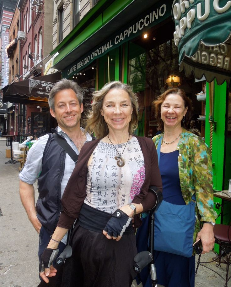 Sarah, Kerith & Susan in front of the Cafe Reggio on MacDougal Street. Sarah lost her leg to a drunk driver, she walks with a high performance mobility device of her own design. She and her husband Kerith own a company called http://www.sidestix.com/  We walked from the LES across Grand Street, thru China Town, Little Italy, SoHo, The West Village all the way over to High Line. You're my hero Sarah. You almost out-walked me.