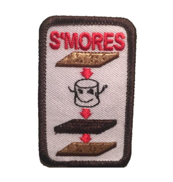Smores! With this girl scout patch, let everyone know your favorite dessert.  Measures 1.5 x 2