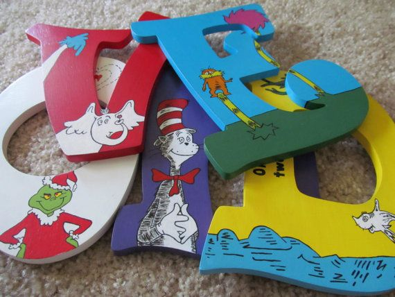 Hand-Painted Dr. Seuss Wooden Letters For Nursery Or Child