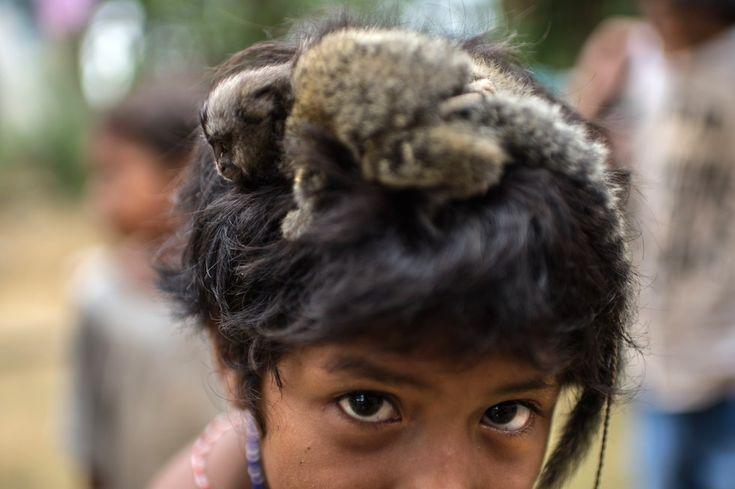 Una bambina Guaraní in posa con una piccola scimmia in testa in una riserva indigena nello stato di Rio de Janeiro, in Brasile (CHRISTOPHE SIMON/AFP/Getty Images)