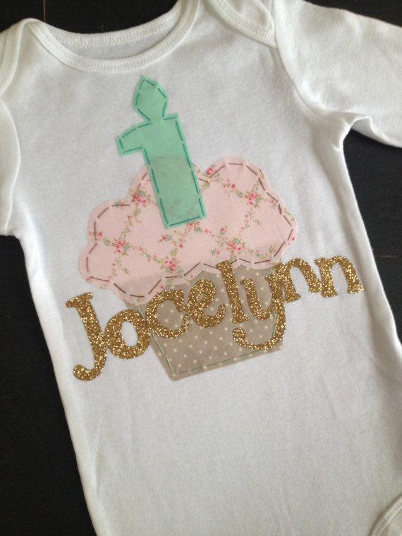 Shabby chic mint, pink, and gold custom birthday cupcake bodysuit