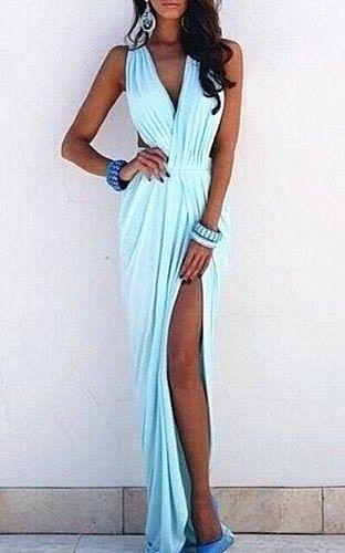 Light Blue Prom Dresses V-neck Ruffles Sleeveless Sexy Side Slit Sloor Length Beach Evening Gowns. 2015 Evening Dresses, Long Evening Dresses, Sexy Party Gowns,