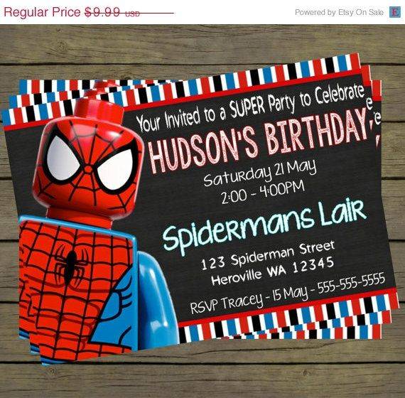 30% off Lego Spiderman Digital Birthday Invitation - Hero Superhero Party Digital File; You Print - printable - PYO on Etsy, $6.99