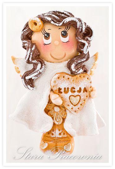 aniołek z masy solnej, salt dough angel, masa solna www.facebook.com/starapracownia www.starapracownia.blogspot.com