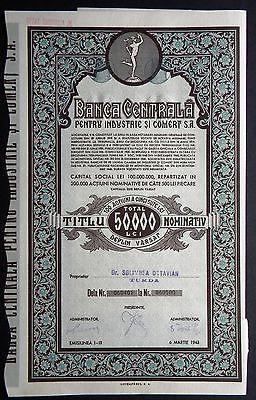 Romania-Transylvania-Banca-Centrala-50-000-Lei-Cluj-1943
