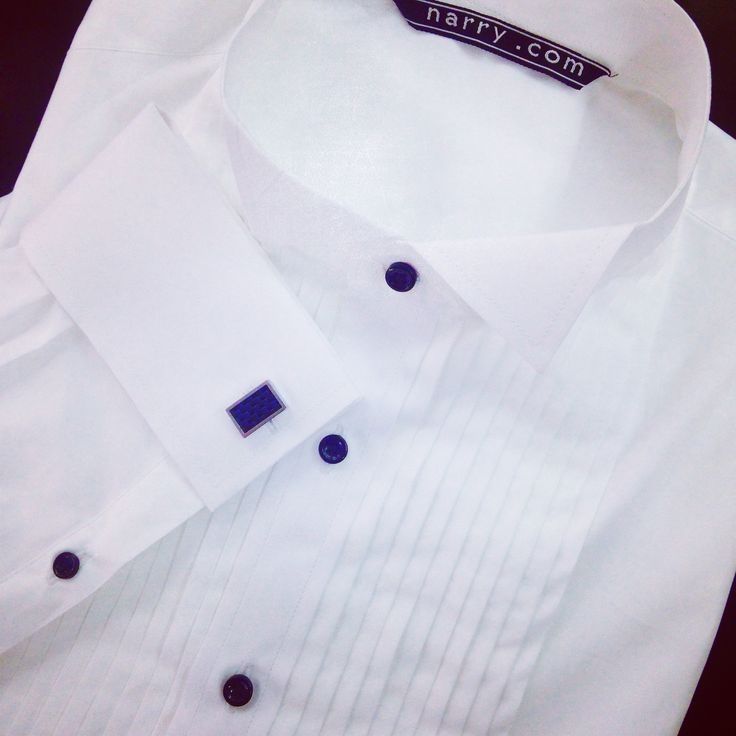 White Tuxedo Shirt custom tailored by Narry Tailor #tuxedoshirt #doublecuff #doublefrenchcuff #blackbutton #wingcolar