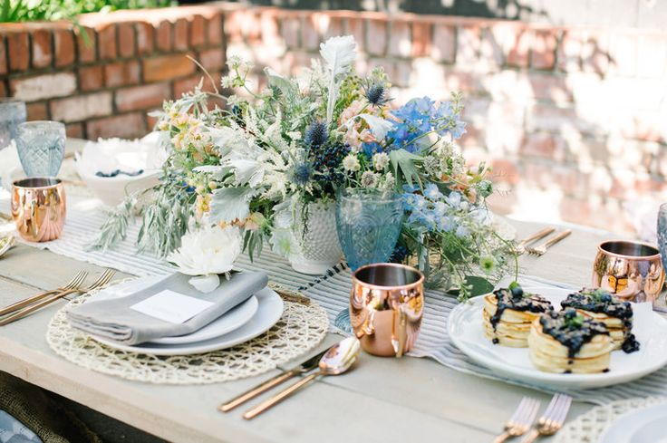Get the look: Rose Gold Cutlery, Sapphire Goblets, Copper Mugs