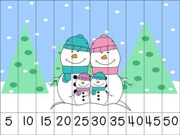 Winter Themed Skip Counting Puzzles. Here, students will practice counting by 5's to assemble the puzzle and reveal the winter picture!