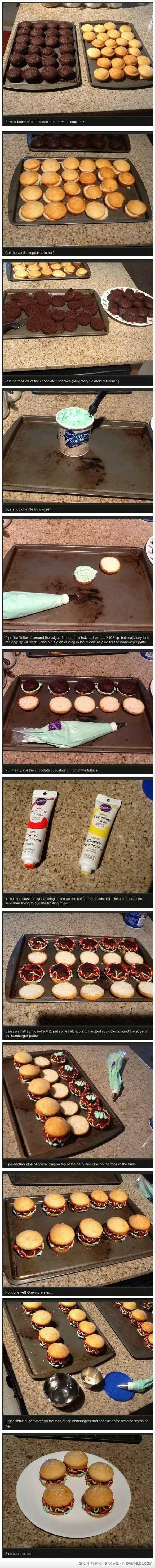 How To Make Burger Cupcakes!  YUM!