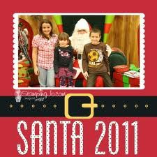 This if a fun layout.  I would double mat photo in white first then frame in black.  Lower Santa's belt with a smaller size font for the title at bottom.  I want to see this cute 'visiting Santa' photo first then Santa's belt will just add to my delight!