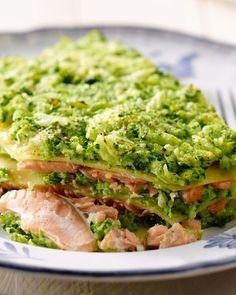 Lasagne met zalm en broccoli - 15gram !