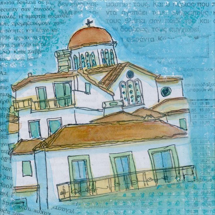 Rooftops - artwork inspired by Greece by Gill Tomlinson