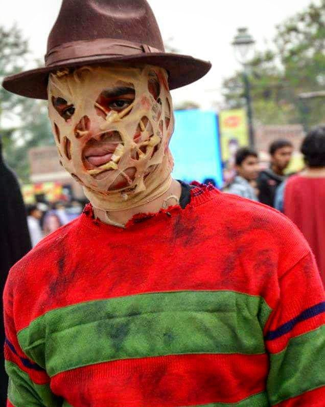 Throwback to my second Cosplay almost 6 years ago.  Safe to say I was successful in scaring people... Of my makeup skills.  #makeupgameonpoint #suchsfx #muchwow #freddykrueger #nightmareonelmstreet #slasher #prosthetics #comicconindia #indiancosplaycommunity #cosplay #comiccon #DIY
