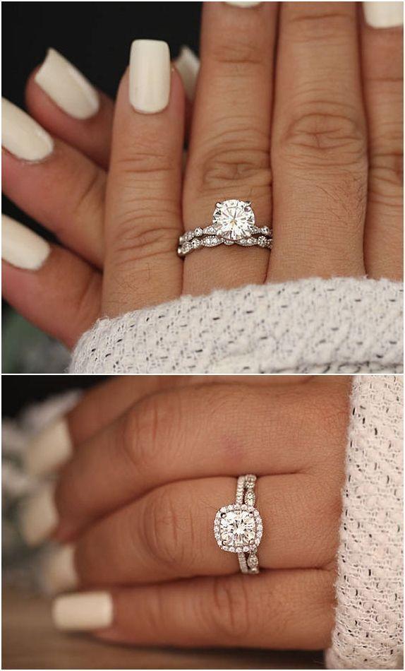 Wedding Ring Set Moissanite 14k White Gold Engagement Ring Round 8mm Moissanite Ring Diamond Wedding Ring Images Wedding Rings Engagement Wedding Band Sets