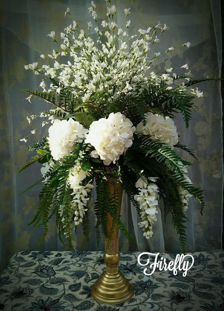 White hydrangeas and white wisteria with ferns. Perfect for wedding or church. Almost 4 foot tall... by Firefly
