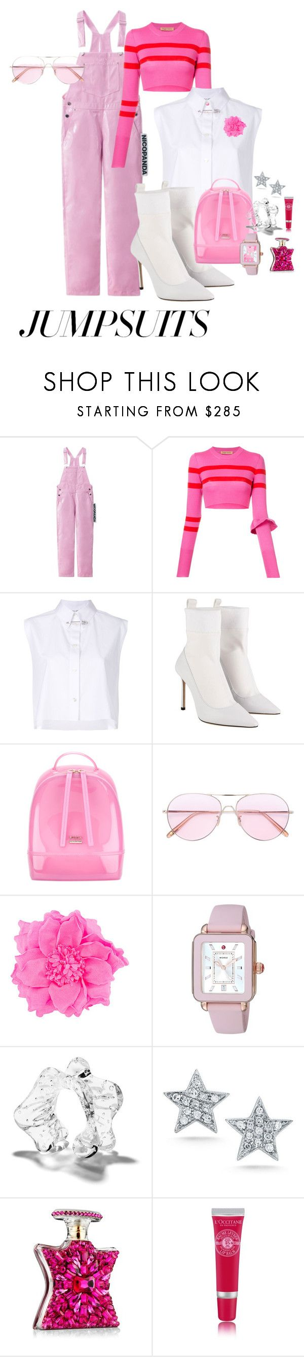 """jumpsuits"" by redbone1961114 on Polyvore featuring Maggie Marilyn, Helmut Lang, Jimmy Choo, Furla, Oliver Peoples, Nude, Michele, Proenza Schouler, JULIANNE and Bond No. 9"