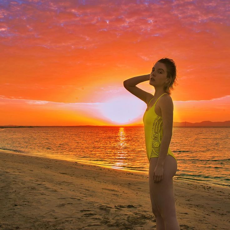 | Awesome sunset with a touch of lemon | #Entreaguas #Swimwear #Beachwear #Sophisticated #Bikini #Nature • Link to shop in bio •