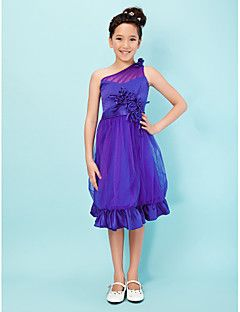 A-Line+Princess+One+Shoulder+Knee+Length+Satin+Tulle+Junior+Bridesmaid+Dress+with+Flower+by+LAN+TING+BRIDE®+–+GBP+£+214.16