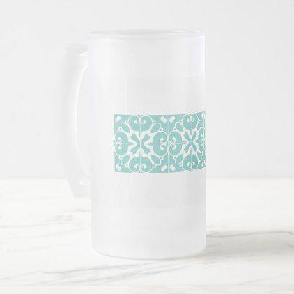 #Southwestern Turquoise Design Frosted Glass Beer Mug - #office #gifts #giftideas #business