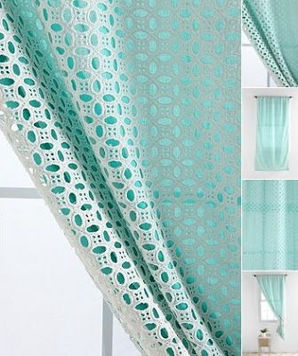 Eyelet cotton and curtain lining ... great idea for inexpensive beautiful curtains