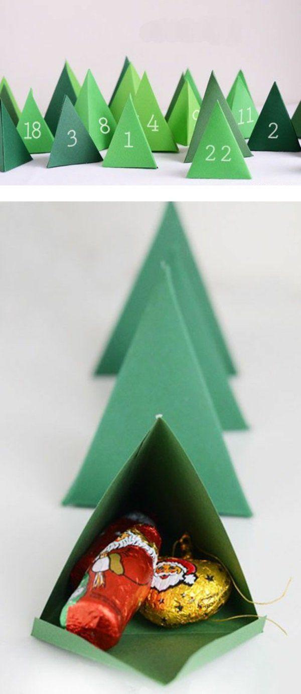 adventskalender selber basteln grüne tannen