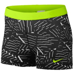 "Nike Pro 3"" Compression Shorts - Women's - White/Black/Volt"