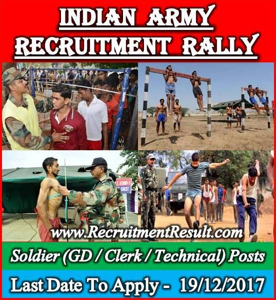The largest component of the Indian Armed Forces has given an opportunity to be the part of it through Indian Army Recruitment Rally!!!! According to the latest Indian Army Notification, there are various vacant positions of Soldier General Duty, Soldier Tradesman, Soldier Clerk/Store Keeper Technical/ Inventory Management.