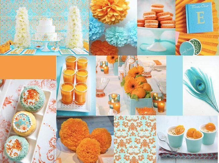 Teal Turquoise Blue Orange Wedding