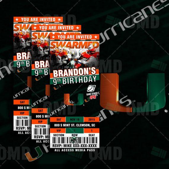 2.5x6 Miami Hurricanes Sports Party Invitation by #sportsinvites
