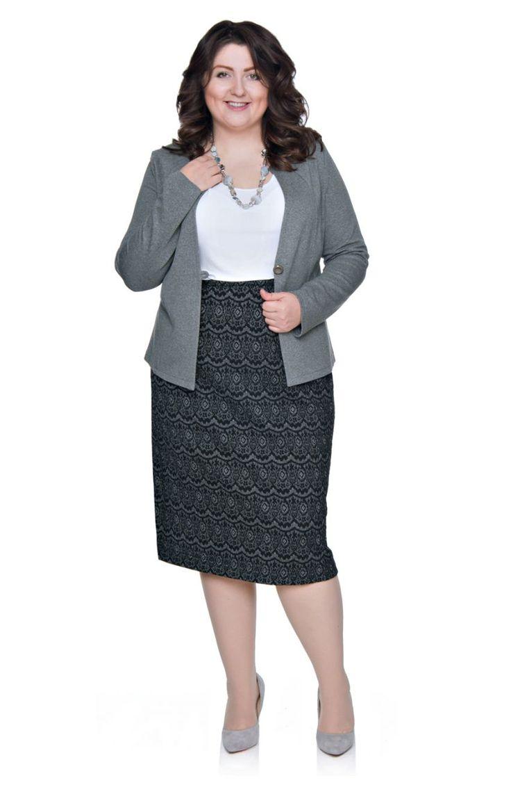 Elastyczna czarna spódnica we wzór - Modne Duże Rozmiary