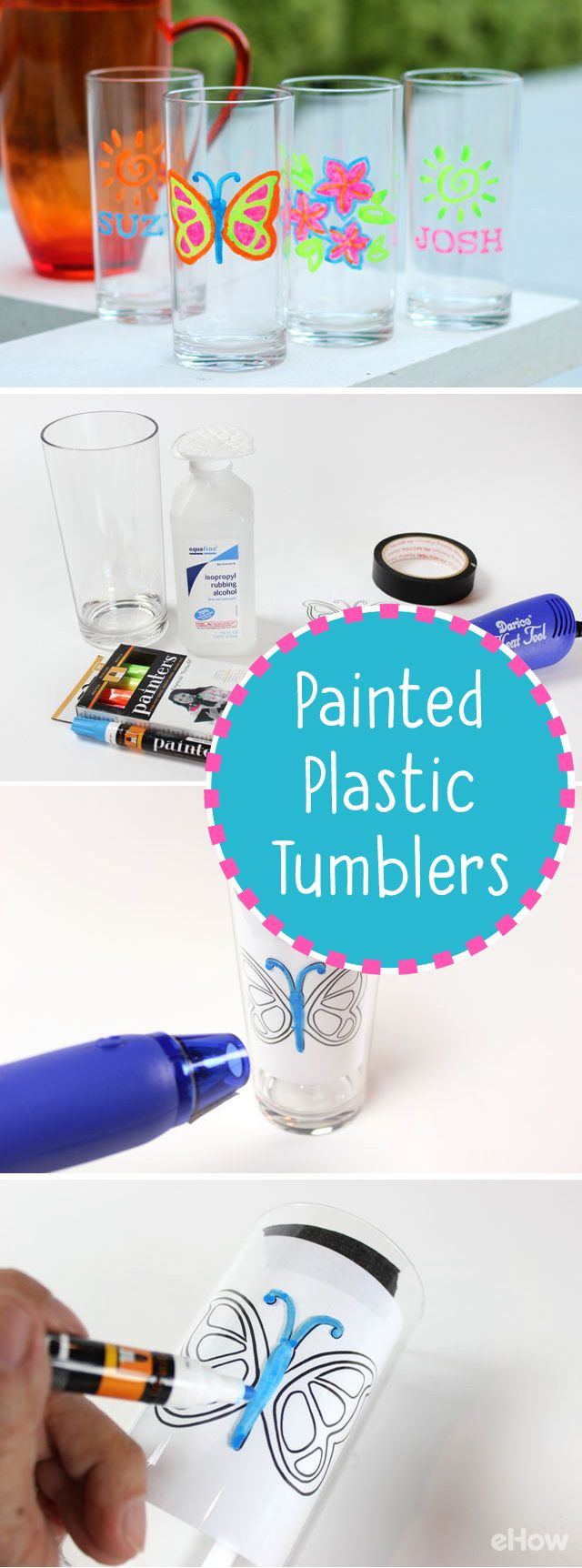 Plastic tumblers are a smart alternative to glassware because you don't have to worry about breakage or wasting paper cups! And by using acrylic paint markers, they are also fun and easy to paint so that everyone at the party can have a tumbler personalized just for them.  http://www.ehow.com/how_12067997_painting-plastic-tumblers.html?utm_source=pinterest.com&utm_medium=referral&utm_content=curated&utm_campaign=fanpage