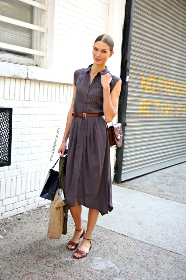 @Alison Peterson  now I have a good way to style this dress!!! :) Karlie #offduty in NYC. #KarlieKloss