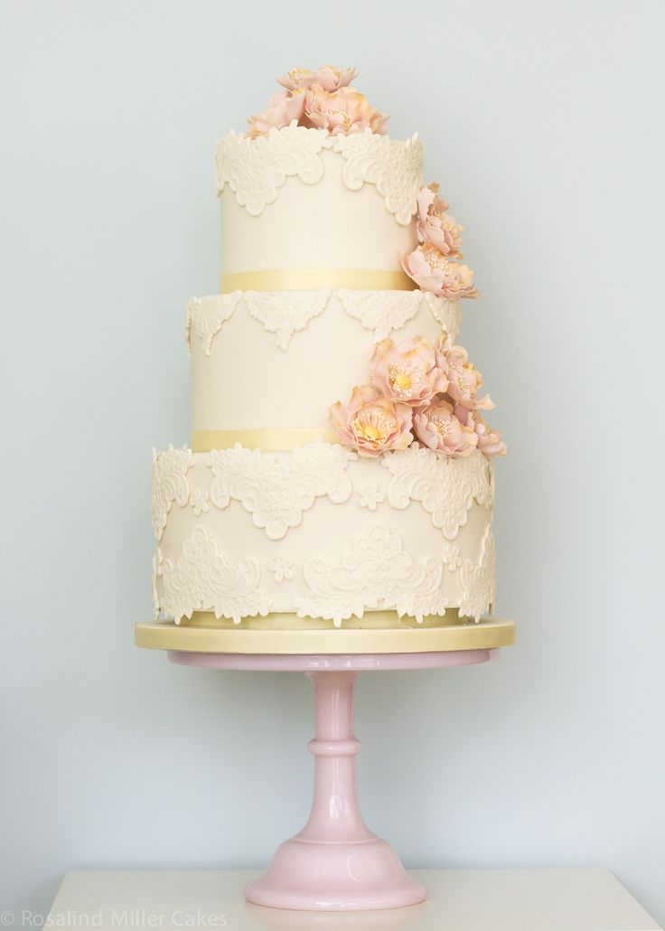 Ivory Vintage Lace and Open Roses Wedding Cake