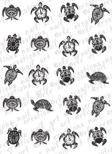 20 Assorted TRIBAL TURTLES Water Slide Nail Art Decals 6 Different Turtle Nail Decals 20 total in set. $2.25, via Etsy.