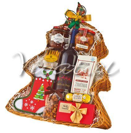 Kosz Świąteczny *Choinka* Christmas gift basket Choinka http://www.vivat.pl/551,kosz-swiateczny-choinka-.html Wino czerwone hiszpańskie świąteczne półwytrawne Castillo de Olaya Angielskie cukierki toffee w ozdobnym świątecznym metalowym pudełku Chrupiące kuleczki z orzechami laskowymi i kremowym nadzieniem, Rocher 35g Ciastka świąteczne maślane 100g Francuskie trufle czekoladowe w kartoniku 100 g Herbata cejlońska zimowa z kardamonem imbirem i cynamonem 80 g Orzeszki arachidowe w karmelu w…