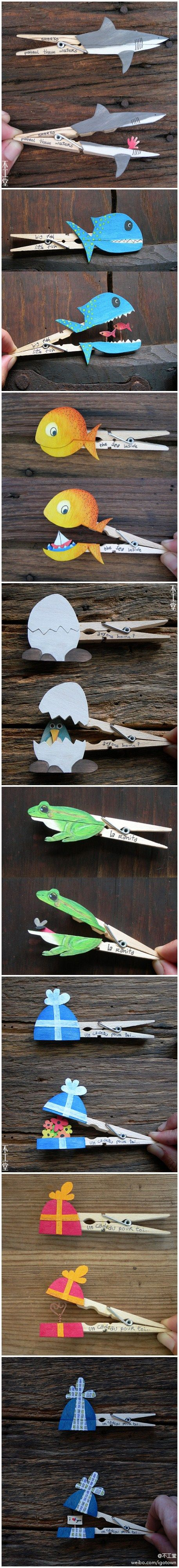 "Kid craft! clothespins - top is decorated one way and opens to reveal a ""secret"" decortation"