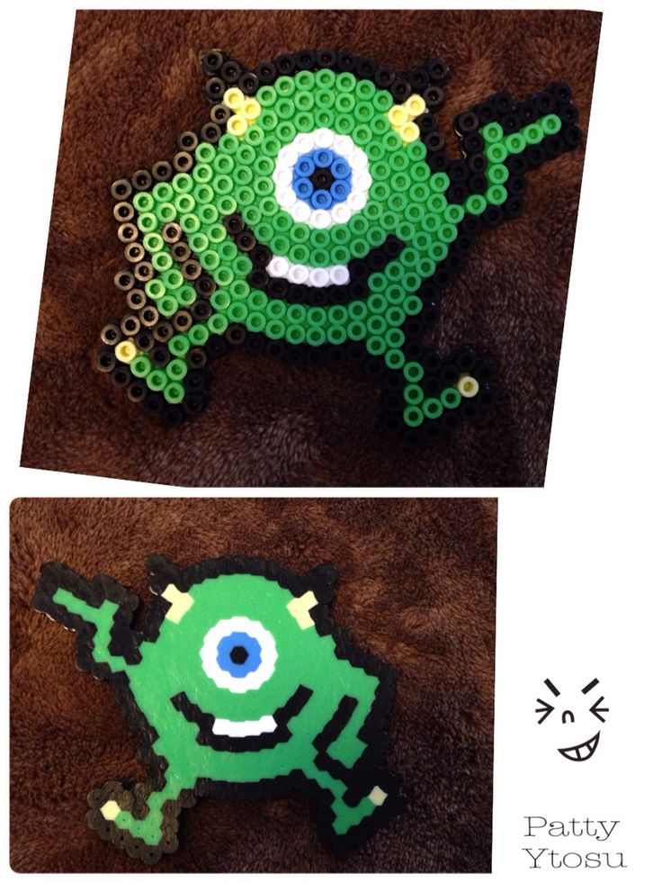Perler beads Mike from Monster Inc  パーラービーズで作った モンスターインクのマイク Original
