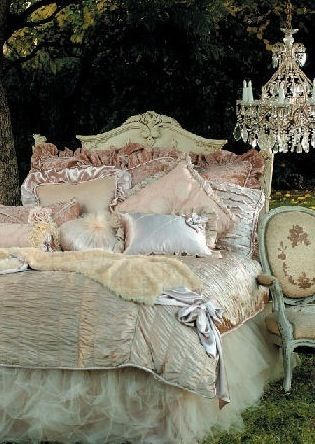Need in Blue and gold with touches of pink. Marie Antoinette inspired bedding