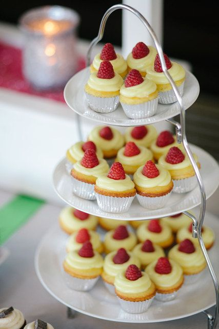 Raspberry lemon cupcakes at a Fundraiser Party!  See more party ideas at CatchMyParty.com!