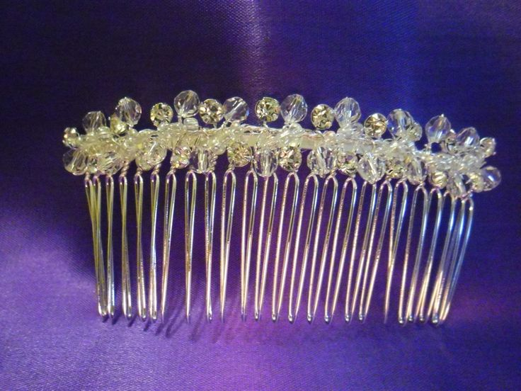 Silver Hair Comb with Crystals