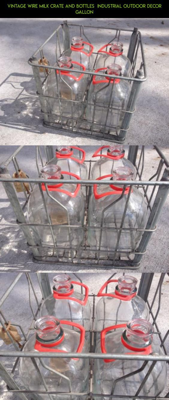 Vintage Wire Milk Crate And Bottles  Industrial Outdoor Decor Gallon #gadgets #shopping #technology #racing #decor #industrial #outdoor #plans #tech #camera #products #kit #drone #fpv #parts