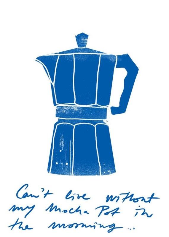 Blue moka express stovetop espresso maker print food and for Blue print maker