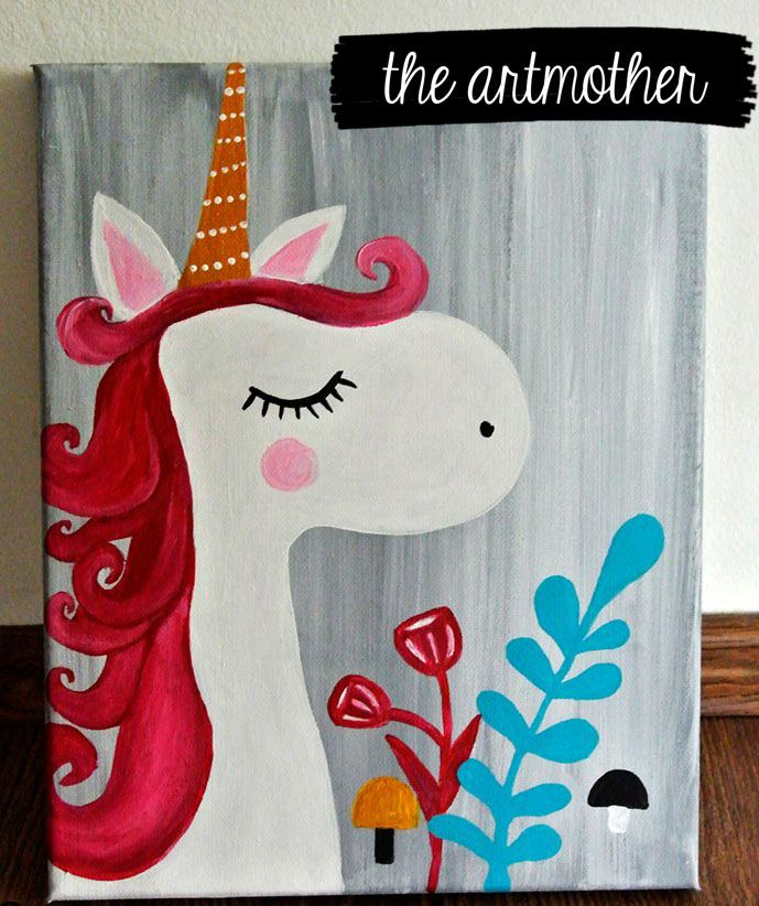 A beautiful unicorn painting, to bright up the room of a little princess! By artmother