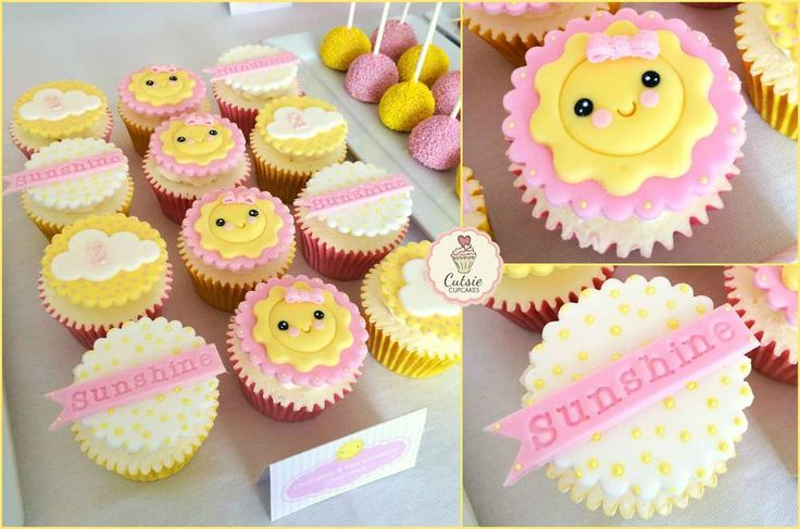 Adorable cupcakes at a sunshine birthday party! See more party planning ideas at CatchMyParty.com!