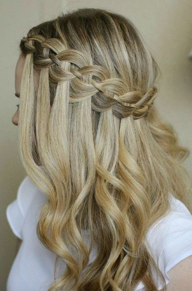 22 of the Prettiest Waterfall Braids on Pinterest | Glam Waterfall Braid With Curls