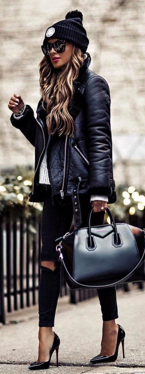 #winter #outfits black leather zip-up jacket with black leggings outfit. Minus the bag..