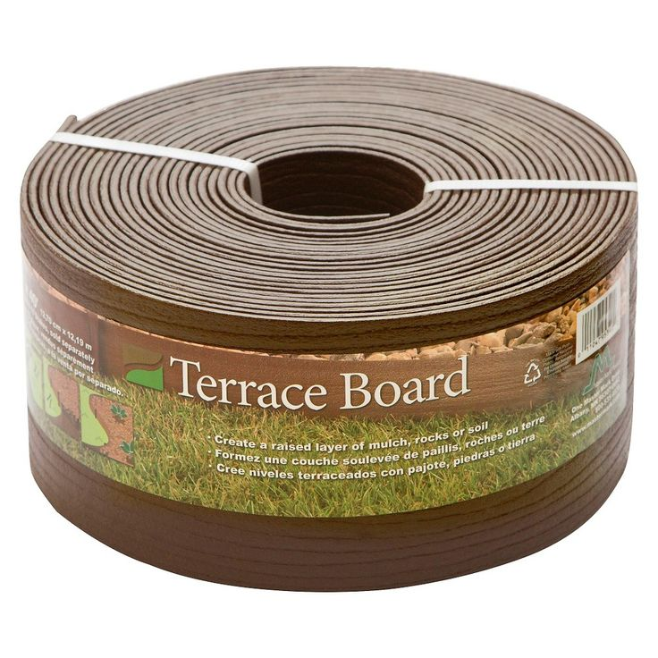 5 x 40' Terrace Board Lawn And Garden Edging With 10 stakes - Brown - Master Mark Plastics
