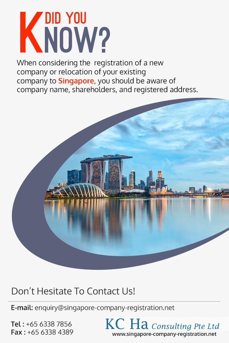 When considering the #registration_of_a_new_company or relocation of your existing company to Singapore, you should be aware of company name, shareholders, and registered address.