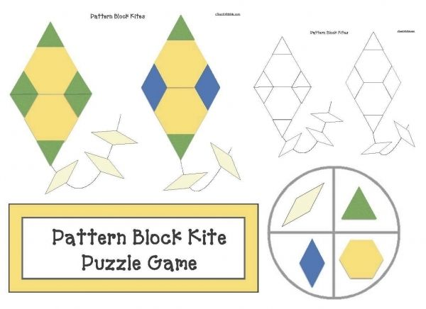 Kite activities:  FREE kite-themed pattern block puzzle packet. Includes pocket cards for the names of the shapes.