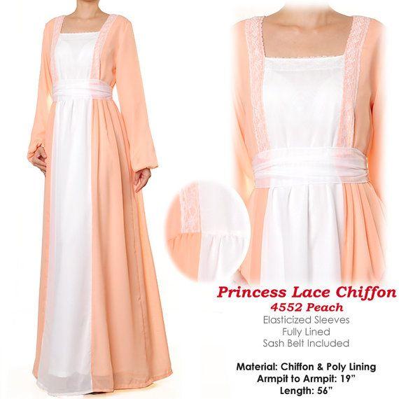 Princess Pastel Chiffon Lace Abaya Long Sleeves Maxi by MissMode21, $34.00